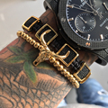 Men Fashion Zircon Bracelets Black Silver Gold Plated Cattle Head & 4mm Titanium beads Rope Braiding Macrame Bracelets Bangle