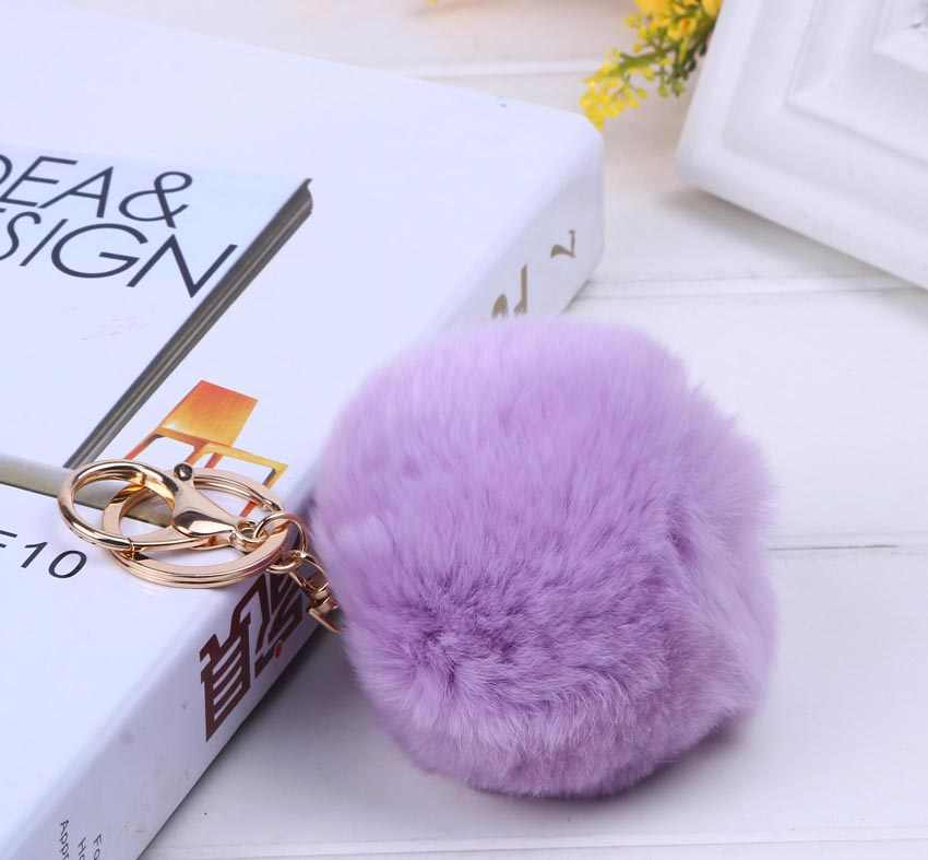 Chaveiro De Pele de coelho Pompom Bonito Chaveiro Carro-Pom Pom Pele Anel Chave Para As Mulheres de Alta Qualidade Saco Do Presente jóias #16003