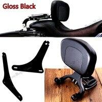 Gloss Black Mount Kit &Driver Passenger Backrest For Harley Softail FLSTC Heritage 00 17 Model