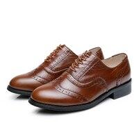 Mens Brogue Shoes Genuine Leather Custom Made Lace Up Men Classic Designer Dress Oxford Shoes Platform