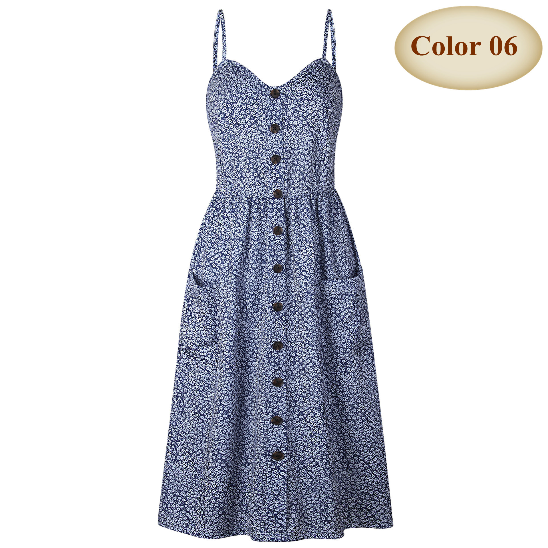 New Boho Off-shoulder Party Beach Sundress Spaghetti Long Dresses Plus Size Summer Women Button Decorated Print Dress CRRIFLZ 18