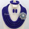 Royal blue Beads Africanos Joyería Set 2016 Nigeriano Perlas Africanas de la Boda para Las Novias Partido Joyería Nupcial Conjunto A00857