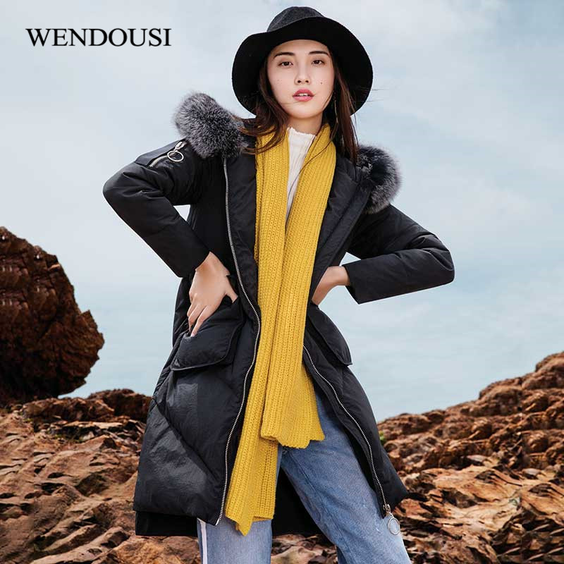 WENDOUSI Solid Color Winter Light Down Jacket Womens Med-Length New White Duck Down Slim Jacket Fashion Down Coat Female DY6666
