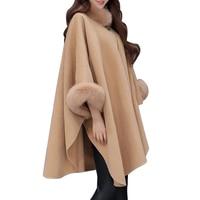 Elegant Faux Fox Fur Collar Poncho Coat Capes Women Winter Warm Wool Cloak Cape Elegant Ladies Batwing Sleeve Shawl Overcoats