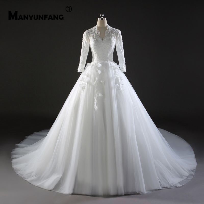 White Round Neck Tulle Lace Long Wedding Dress White: MANYUNFANG Modest Long Sleeves High Neck Robe Pure White
