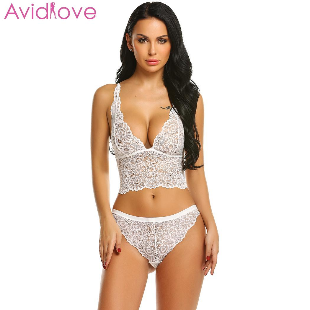 Avidlove Women Sexy Hollow Lace Floral Lingerie Sets Erotic Nightwear Nighty Costumes Hot Clothes Set Bra with G String 2