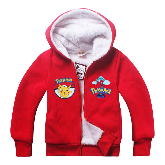 Boys  girls Autumn  Winter POKE MON GO zipped hooded Coats  long-sleeved Children's  boy girl coat 1900