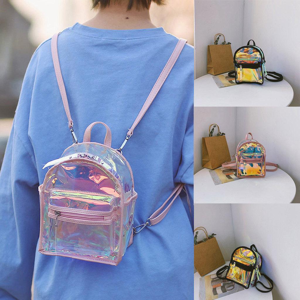 2019 New Fashion Girl Clear Transparent See Through PVC Mini Backpack School Book Bag Laser Hologram Jelly Street Backpack