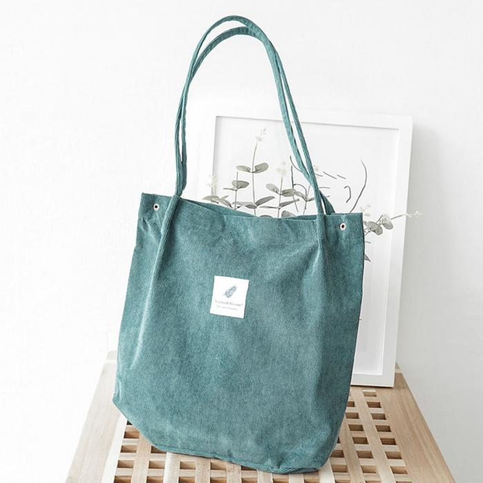 High Capacity Women Corduroy Tote Ladies Casual Shoulder Bag Foldable Reusable Shopping Beach Bag WML99 9