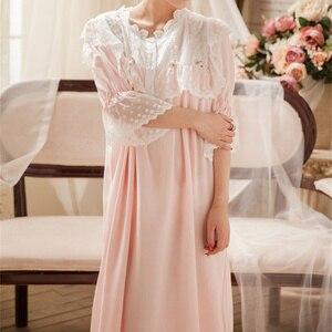 Image 3 - Camisones de estilo victoriano para mujer ropa de dormir Vintage, de algodón de encaje púrpura, para el hogar, T284
