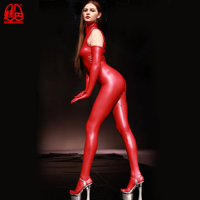 セクシーな女性のプラスサイズハイネックフルボディシャイニーレオタードボディスーツラテックスジッパーオープンクロッチキャットスーツセクシーランジェリーモトバイカークラブ着用とグローブ