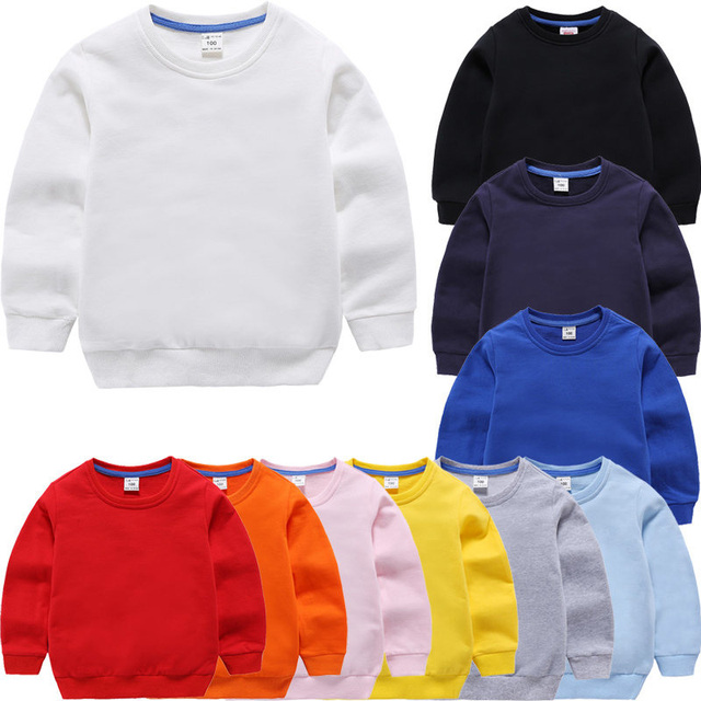 Children's Hoodies Sweatshirts Girl Kids White Tshirt Cotton Pullover Tops for Baby Boys Autumn Solid Color Clothes 1-9 Years