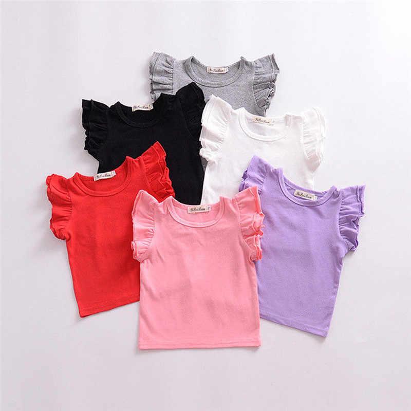 PUDCOCO/Новейшая летняя детская футболка с короткими рукавами для маленьких девочек, хлопковые футболки с оборками, модные детские сарафаны для девочек, От 0 до 4 лет