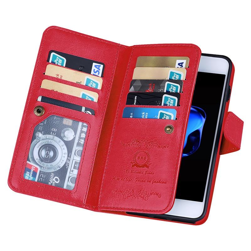 Iphone 7 8 Plus 7plus Case Lüks Cüzdan Cüzdan Dəri Çanta - Cib telefonu aksesuarları və hissələri - Fotoqrafiya 4