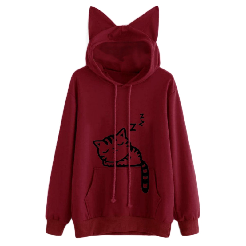 Fashion Cat Ear Hooded Sweatshirts Tops Womens Cat Printed Long Sleeve Hoodies Pullovers W6
