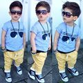 Cool Kids Toddler Boy Gray T-Shirt Glasses Pattern Tops & Yellow Harem Pants Set Kids Clothes Outfit Set Size 2T-6  21