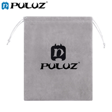 PULUZ Soft Flannel Pouch Bag With Stay Cord For GoPro Grey Nylon Mesh Storage Accessories Bags Black/Grey