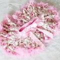 Shabby Chic Pink Pettiskirt Floral, Rosa tutú de la falda, Gasa Pettiskirt, Pettiskirt Rosas rosadas, rosa Bebé Traje, Bebé Pettiskirt