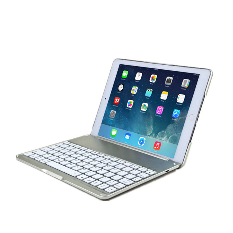 Ultra Thin Case for iPad 9.7'' 2017 Aluminum Bluetooth keyboard Case Smart Folio Cover Auto Sleep Tablet Case for iPad Air Coque