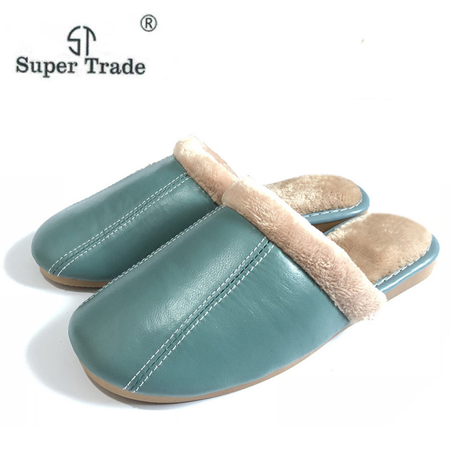 ST SUPER TRADE Winter Women Leather Slippers Home Shoes Sheepskin Slipper Warm Comfortable Thick Bottom Slippers
