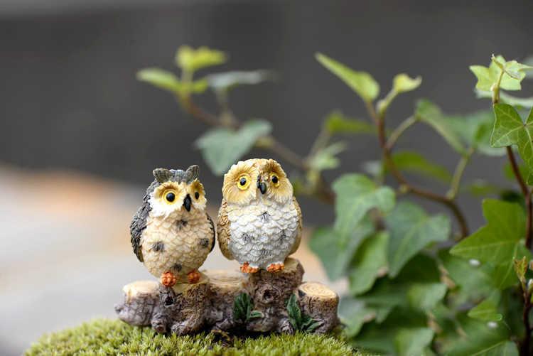 4 PCS Coruja Estatueta Em Miniatura Figura Animal Decoração do Aquário Do Tanque de Peixes Ofício da Resina Animal Estátua Do Jardim de Fadas