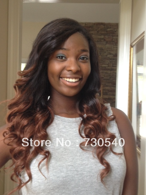 Ombre Brazilian Hair Color1B33 Glueless Full Lace WigsampGlueless Front Lace Wigs Fashion Wavy