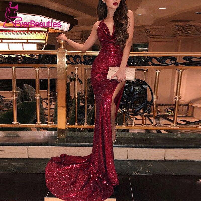 Mermaid Burgundy   Evening     Dress   Long V-Neck Backless Sequins Elegant Formal   Dress   Sexy Side Slit Robe De Soiree 2019