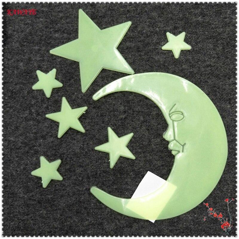7pcs 3D Moon Stars Glow In The Dark Luminous Fluorescent Plastic Decor DIY Luminous Wall Stickers Living Home Decor 5ZDZ263