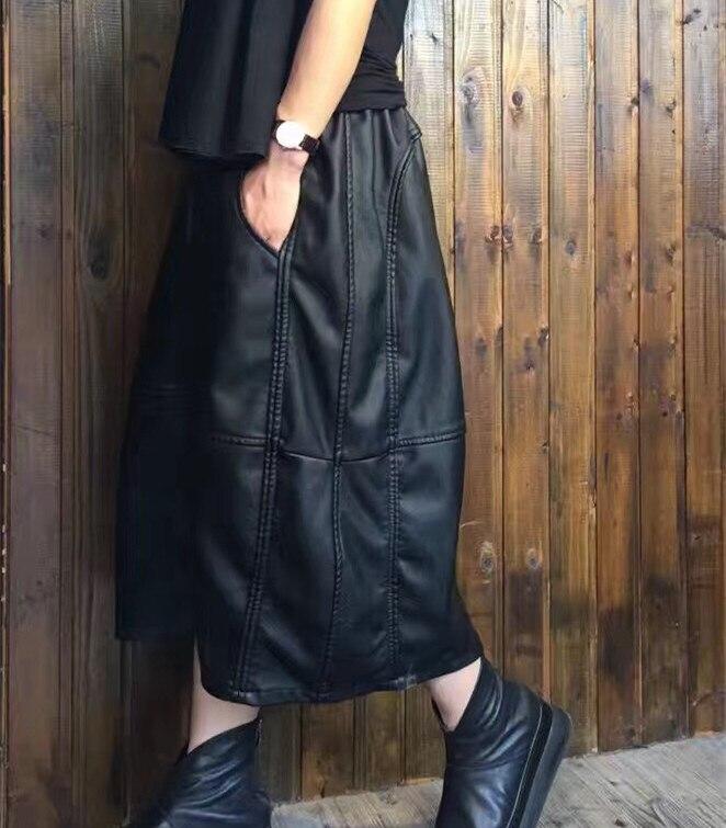 2017 female autumn and winter original high quality show thin PU lantern loose thick warm bud skirt