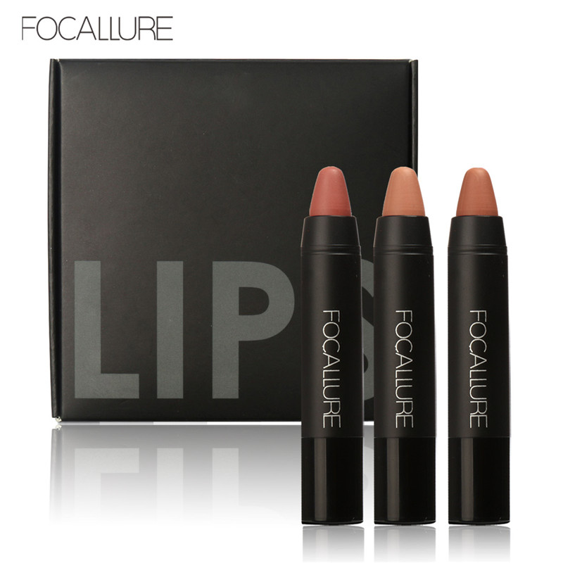 FOCALLURE Waterproof Long-lasting Red Velvet Nude Tattoo Matte True Brown Color Pencil Lipstick Crayon Lot Makeup Set