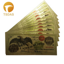 24k Gold Banknotes Plated USA 100 Dollars World Fake Money Collections Currency USD Foil Bills 10pcs/lot