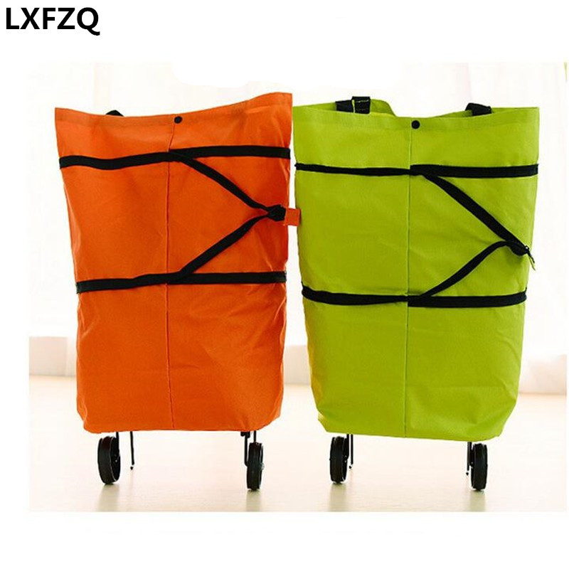 Oxford Doek foldable bag new reusable shopping bag trolley bags on wheels wheels Shopping Bag Cart eco