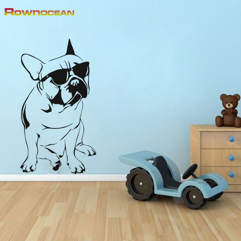 Funny Dog With Sunglasses Interior Home Decoration Wall Stickers For Kids Rooms Vinyl Removable Waterproof Wall Decor D-03