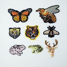Butterfly Honeybee Wasp Deer Iron On Patches Sewing Embroidered Applique Jacket Clothes Stickers Badge DIY Apparel Accessories(China)