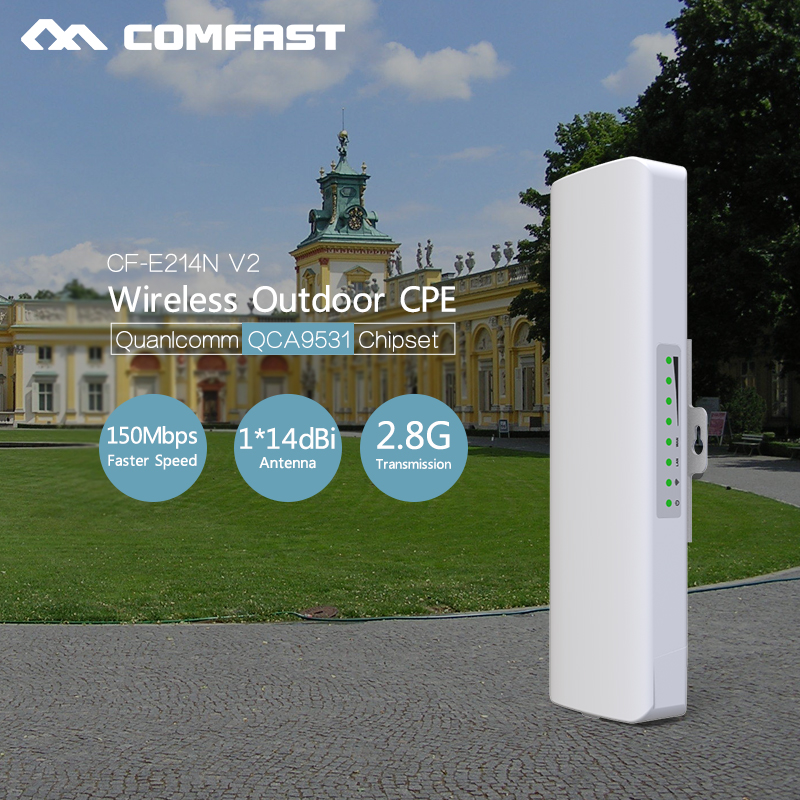 Long Range wifi router comfast cf-e214nv2 Outdoor access point 2.4G CPE bridge Signal Booster Wireless AP 14db wifi repeater CPE