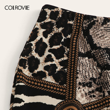 COLROVIE Mixed Animal Print Elegant Bodycon Skirt Women Bottoms 2019 Summer Korean Pencil Skirt Office Ladies Fitted Mini Skirts