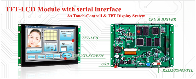 3.5 inch TFT LCD Display Monitor with CPU + Touch Screen + RS232/ RS485/ USB Port 100PCS