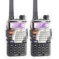 Walkie talkie baofeng uv-5re uhf + vhf banda dupla móvel presunto rádio fm 5 w two-way radio portátil rádio com fone de ouvido