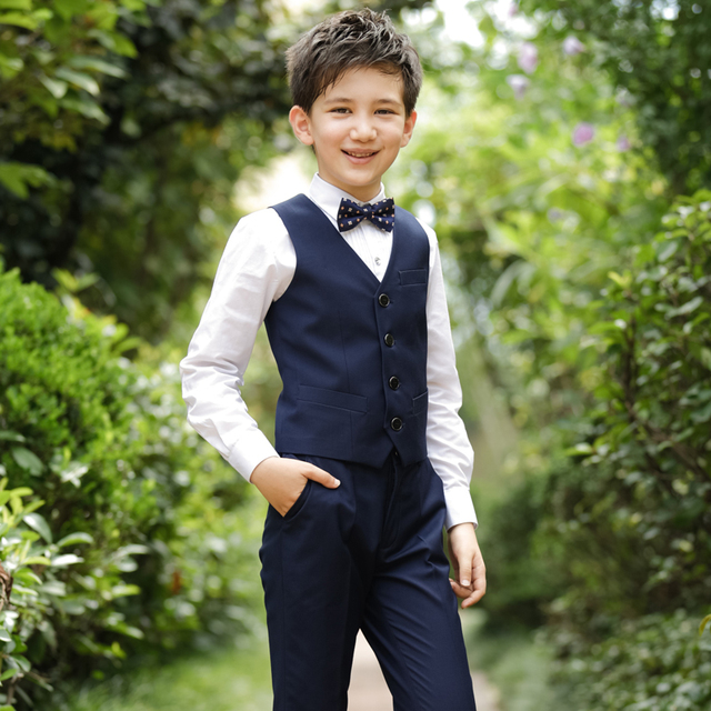 2018 Autumn Kids Boys Vest Suits Blazer Wedding Clothes Single Ted Block Formal Children Wdding