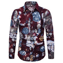 2019 New Fashion Casual Men Shirts Long-Sleeved Slim Fit Printed High Quality Cotton Linen Floral Mens Clothes