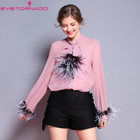Women lace up bow feather patchwork chiffon blouse spring autumn pink with camis casual work female lantern sleeve OL shirt tops