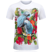 2017 New Men S Short T Shirt Fashion Leisure Men Speed Dry Clothing 3D Parrot Bird