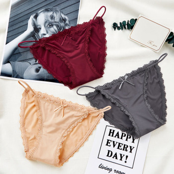 3PCS Sexy Panties Women Lace Low-rise Solid Sexy Briefs Seamless intimate g-strings thongs Panty cotton  crotch woman underwear 2