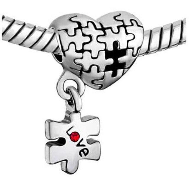 Fit Pandora charm bransoletki autyzm świadomość serce Charm bransoletka dynda miłość czerwone kryształowe koraliki charms koraliki do tworzenia biżuterii