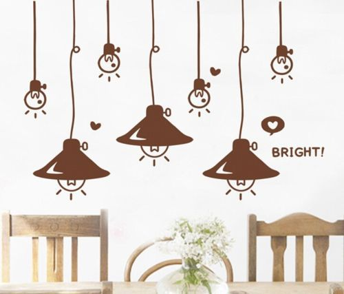 FD2464 Home Decor Craft Sticker Bedroom Toilet Wall DIY Sticker ~Bright Lamps ~