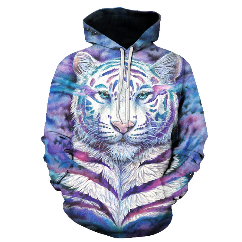 2019 new men and women spring autumn 3D printed hooded sweatshirts animal lions tigers wolves hoodies men and women sportswear(China)