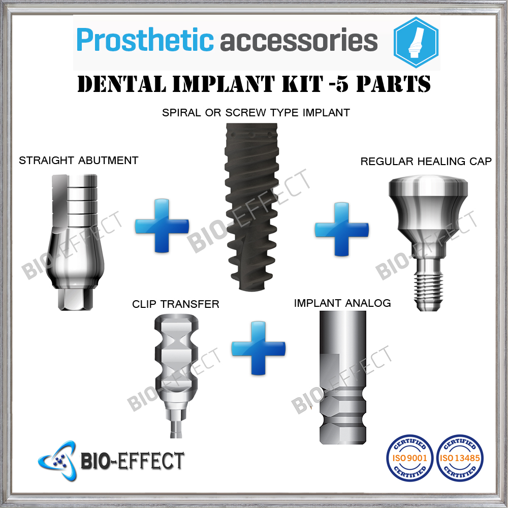 1X Dental Implant 5 Part KIT=1 Inspire OR Phantom Implant+1 Straight Abutment+1 Heal Cap+1 Transfer+1 Analog For Internal Hex attachments retaining implant overdentures