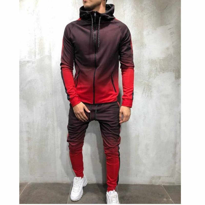 2019 HoT Style 3D Casual  Print Zip Hip hop Sports Muscle Men's  jogger Fashion top + Trousers M-4XL