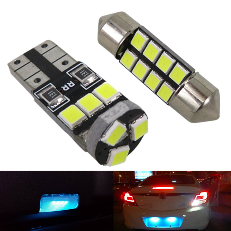 WLJH 6pcs Pure White 2835 SMD T10 W5W Led DE3175 Car Led Interior Light Package for Honda Fit 2007 2008 2009 2010 2011 2012 2013 cawanerl car canbus led package kit 2835 smd white interior dome map cargo license plate light for audi tt tts 8j 2007 2012