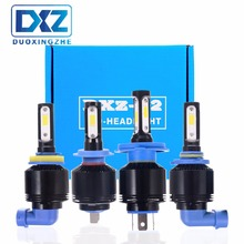 DXZ Car led headlight 2PCS H4/9003/HB2 H7 H8 H11 HB3 HB4 9005 9006 COB 72W 8000LM auto accessories  LED Bulb Fog Light 6500K 12V